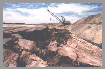 Highwall failure in dragline mining operation